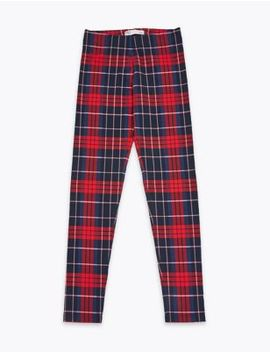 Cotton Check Print Leggings (3 16 Years) by Marks & Spencer