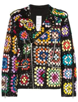 Sequin Embellished Crochet Biker Jacket by Ashish