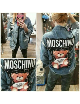 New *Moschino* Text Teddy Bear Safety Pin Punk Rock Blue Coat Veste Denim Jacket by Unbranded