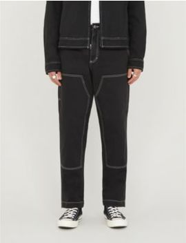 Overstitched Straight Leg Cotton Twill Trousers by Stussy