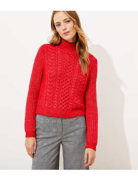 Cropped Turtleneck Cable Sweater by Loft