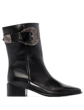 Western Buckle Detailed Leather Boots by Loewe