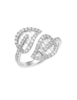 Medium 18 K White Gold & Diamond Baguette Leaf Ring by Anita Ko