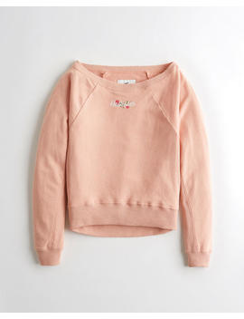 Embroidered Logo Boatneck Sweatshirt by Hollister