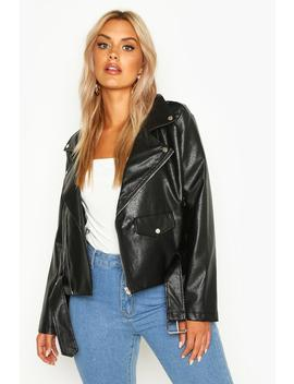 Plus Leather Look Pu Cropped Belted Jacket by Boohoo