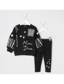 Mini Girls Mini Diva Black Sweatshirt Outfit by River Island
