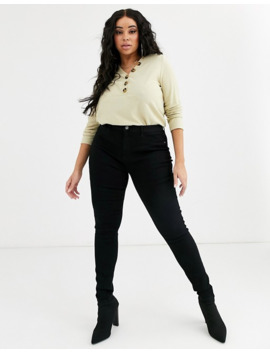 Only Curve High Waisted Skinny Jean In Black Wash by Only's