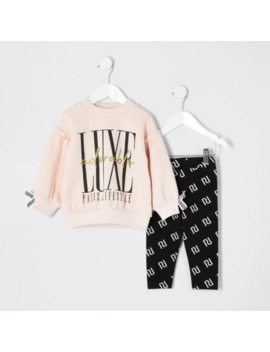 Mini Girls Pink 'luxe' Ri Sweatshirt Outfit by River Island