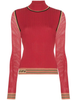 Ribbed Knit Turtleneck Top by Fendi