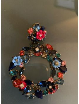 "J Crew Colorful Floral Hoop Earrings #G3346 Neon Azure 2 5/8"" Retail by J.Crew"
