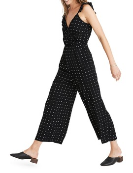 Ruffle Front Wrap Jumpsuit In Grid Dot by Madewell