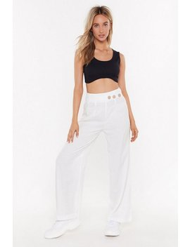 Wide Leg Trousers With Button Detail by Nasty Gal