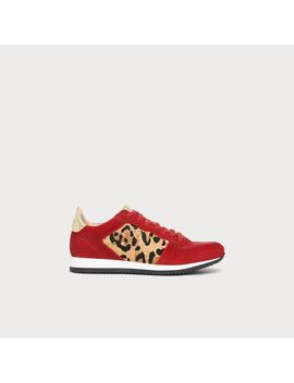 Ricky Red Calf Hair Suede Trainers by L.K.Bennett