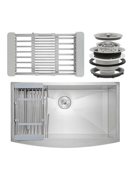 "Ak Ks0118 30"" X 20\"" Farmhouse/Apron Kitchen Sink With Basket Strainer With  Drain Assembly by Akdy"