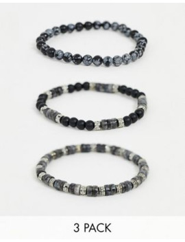 Asos Design Beaded Bracelet Pack With Semi Precious Stones In Grey by Asos Design