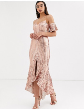 Bariano Bardot Midi Sequin Dress With Dip Hem In Rose Gold by Bariano's