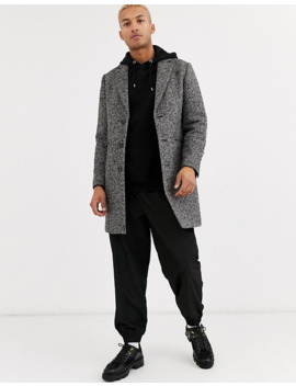Asos Design Wool Mix Overcoat In Gray Texture by Asos Design