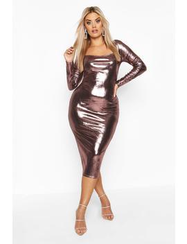 Plus Metallic Square Neck Long Sleeve Midi Dress by Boohoo