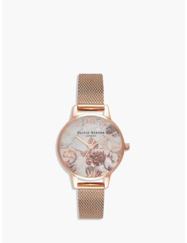 Olivia Burton Ob16 Cs06 Women's Marble Florals Mesh Bracelet Strap Watch, Rose Gold/Multi by Olivia Burton