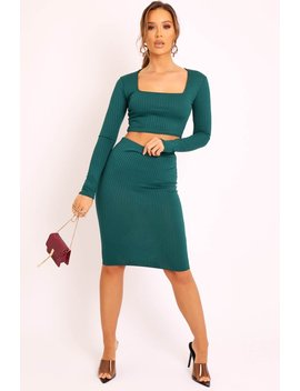 Emerald Ribbed Square Neck Top And Midi Skirt Co Ord   Tiera by Rebellious Fashion