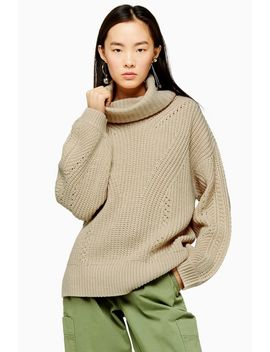 Oat Knitted Roll Neck Jumper by Topshop