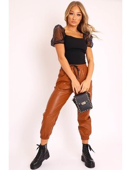 Camel Faux Leather Drawstring Waist Joggers   Persia by Rebellious Fashion