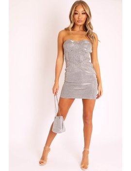 Silver Gold Corset Detail Strapless Bodycon Dress   Danyla by Rebellious Fashion