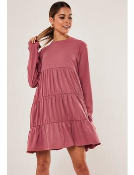 Blush Jersey Tiered Smock Dress by Missguided