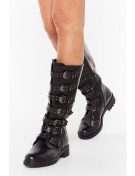 Buck It Faux Leather Knee High Boots by Nasty Gal