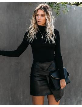 Preorder   Twist And Shout Faux Leather Mini Skirt   Black by Vici