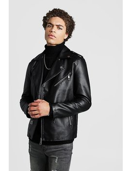 Faux Leather Biker Jacket With Shoulder Detail by Boohoo