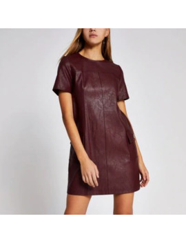 Dark Red Faux Leather Swing Mini Dress by River Island