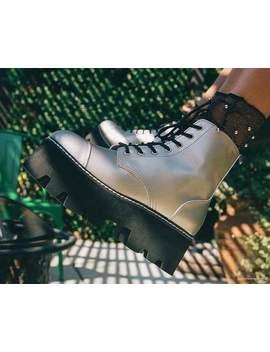 Silver 7 Eye Dino Lug Sole Boot by Tuk