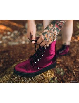 Burgundy Velvet Pointed Lace Up Boot by Tuk