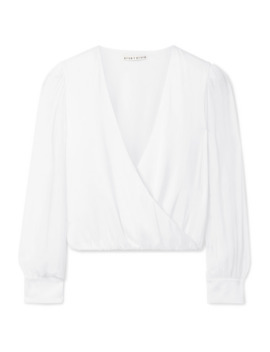 Hart Wrap Effect Chiffon Trimmed Stretch Silk Charmeuse Blouse by Alice + Olivia