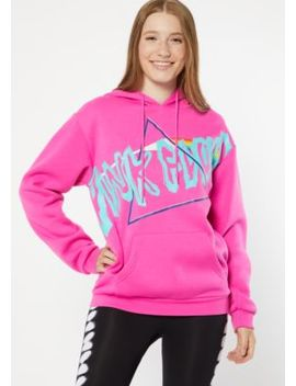 Neon Fuchsia Pink Floyd Oversized Graphic Hoodie by Rue21