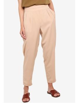 Basic Pleated Waist Wide Leg Pants by Zalora Basics