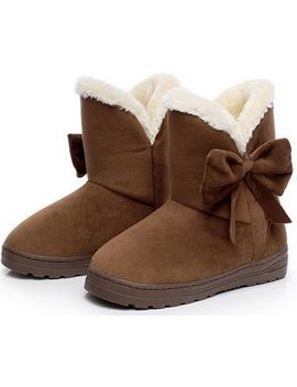 Dymade Women's Bowtie Suede Leather Fur Lining Winter Boots Platform Fur Plush Ankle Boots by Dymade