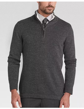 Joseph Abboud Charcoal Half Zip Modern Fit Sweater by Joseph Abboud