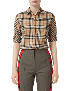 Luka Vintage Check Stretch Cotton Twill Shirt by Burberry