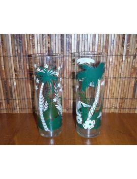 2 Vintage Tropical Palm Tree Highball Cocktail Glasses   Mid Century Tom Collins Tiki Hi Ball Drink Glasses   Vintage Tropical Barware by Etsy