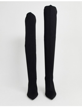 Asos Design Wide Fit Kudos Knitted Block Heel Thigh High Boots In Black by Asos Design