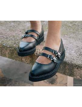 Black Skull Buckle Pointed Mary Jane Creeper by Tuk