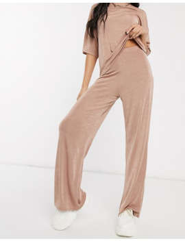 Pretty Little Thing Co Ord Slinky Wide Leg Trousers In Dusty Rose by Pretty Little Thing