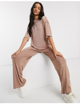 Pretty Little Thing Co Ord Slinky T Shirt In Dusty Rose by Pretty Little Thing