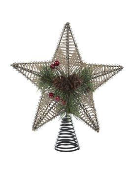 Jute & Pinecone Star Tree Topper by Hobby Lobby