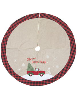 Red Truck With Tree Buffalo Check Edge Tree Skirt by Hobby Lobby