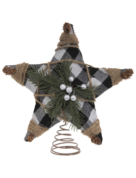 Buffalo Check, Jute & Pine Tree Topper by Hobby Lobby