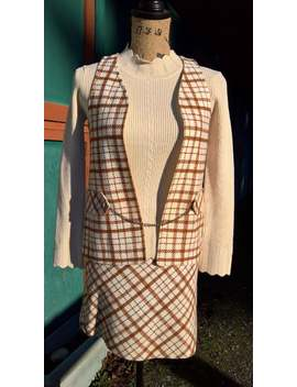 Vintage 1960s Plaid Suit Marlo Thomas Acrylic 1960s Boots Skirt And Vest by Etsy
