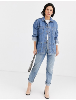 Topshop Denim Jacket In Bleach Wash Blue by Topshop